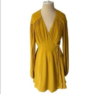 Free People Marigold Long Sleeve Wrap Dress NWOT